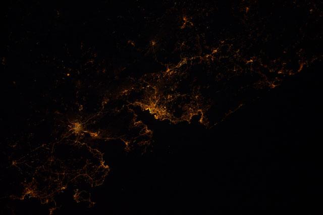 Rias Bajas de noche vistas de N-S