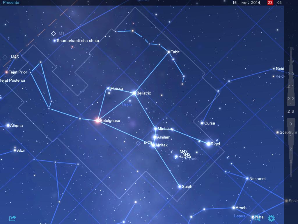 Orion el 15 de noviembre de 2014 a las 23.00, anochecer, hacia el  este.