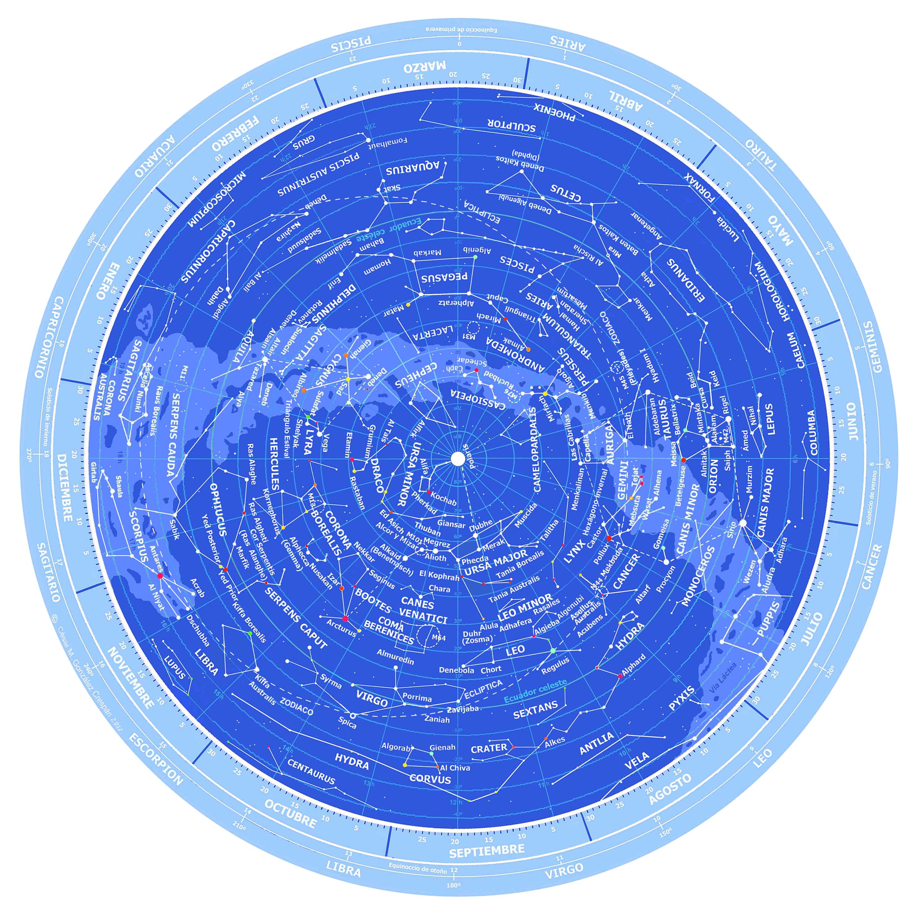 Mapa Estelar Hemisferio Norte.Dibujo De La Carta Celeste