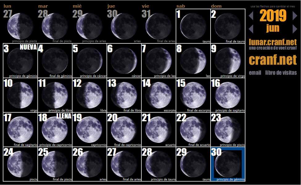 Calendario lunar Fases lunares durante el mes